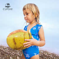 CUPSHE Toddler kids Blue Floral Print One-Piece Swimsuit 2019 Baby Girl Monokini Bathing Suits