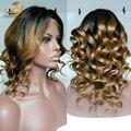 Popular color de dos tonos Ombre pelucas llenas del cordón virginal Súper del frente del cordón ondulado Brasileño pelucas 100% del pelo humano de negro mujeres