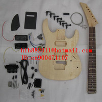 FREE SHIPPING UNFINISHED double wave 7 strings ELECTRIC GUITAR with black hardware in natural color without paint +foam box