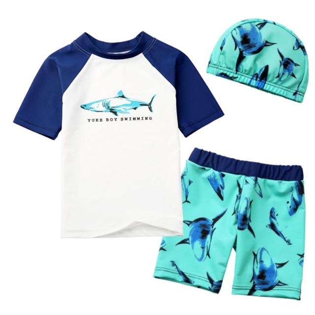 1fa40a45724 Y286 Shark pattern boy swimsuit quick drying kids baby boy swim trunk  shorts cap shirt bikini set child swimwear boys beach wear