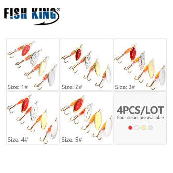 FISH KING 4Pcs/Lot Mepps Spinner Bait Size 1#2#3#4#5# Fishing Lures Spoon With Treble Hook Hard Fake Fish Metal Lures Set 1