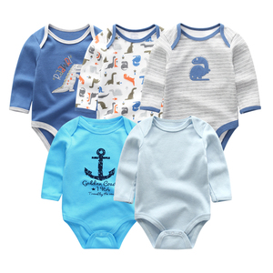 Image 5 - 2019 5pcs/lot Baby Rompers Full Sleeve Cartoon Solid Print O Neck Fashion Cotton Baby Girl Clothes Boy Clothing Roupa de bebe