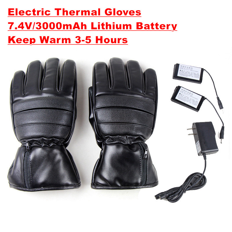 2018 New Winter USB Electric Thermal Ski Gloves Rechargeable Battery Heated Gloves Cycling Motorcycle Bicycle Snowboard Gloves