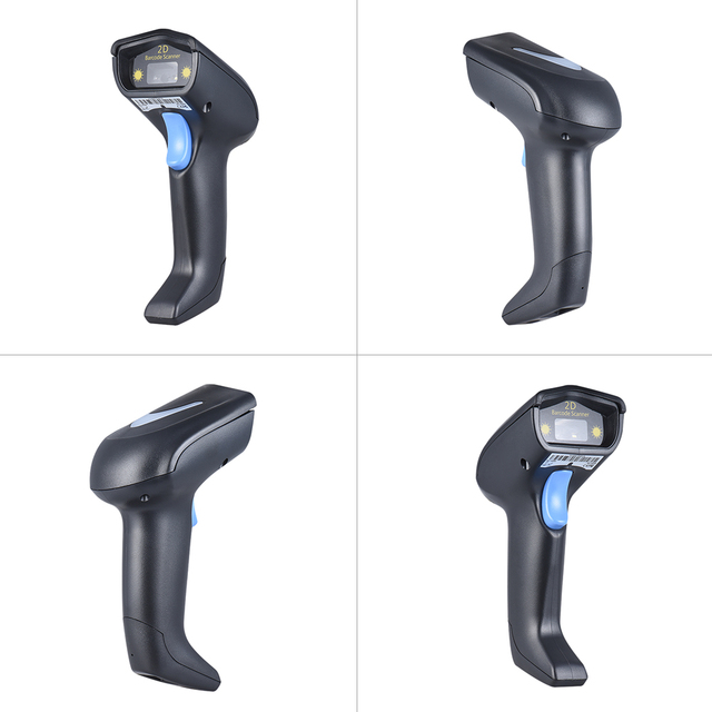 Laser 2.4G Wireless Barcode Scanner 1D 2D Handheld QR Barcode Bar Code Scanner Reader with Receiver USB2.0 Cable for Supermarket 3