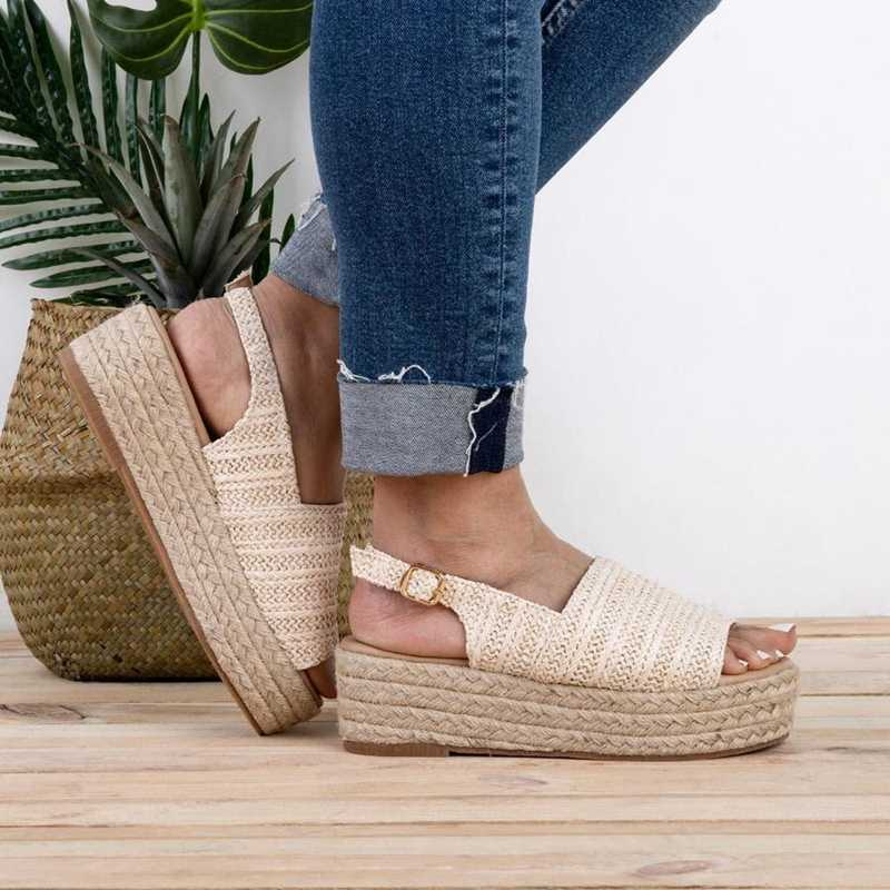 MoneRffi 2019 di Modo Torridity Donne Casual Sandali Da Spiaggia Femminile Scarpe Basse Comode Scarpe di Canapa di spessore inferiore Sandali Più Il Formato