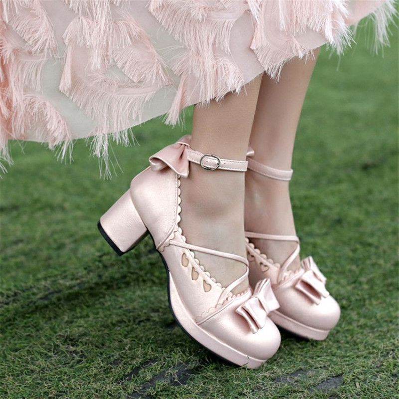 Big Size 30-48 Women Pumps Japanese Princess Lolita Shoes Sweet Bow Cross Straps High Heels Mary Janes COSPLAY Female Shoes Gold (10)