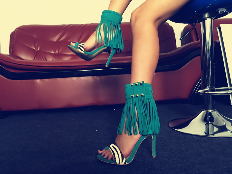 New Fashion European American High Heel Women Shoes Patchwork Fringe Tassel Rivets Lady Party Sandals Cover Heel Summer Shoe pu patchwork high heel womens rivets sandals