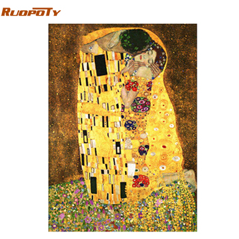 RUOPOTY Frame Kissing DIY Painting By Numbers Figure Painting Home Wall Art Picture Acrylic Handpainted Oil Painting Home Decor ruopoty frame mountain lake diy painting by numbers landscape handpainted oil painting modern home wall art canvas painting art
