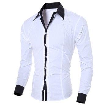 Fashion Personality Men's Casual Slim Shirts Long-sleeved Turndown Collar Pure Color Summer Shirt High Quality Top Blouse #BL4 turndown collar tartan print shirt