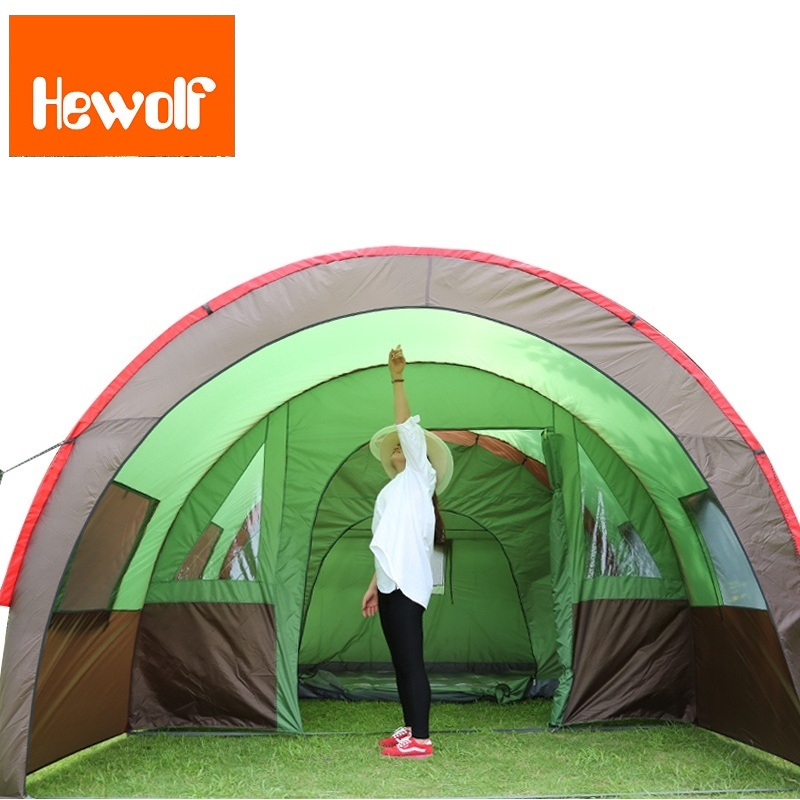 Hewolf 8 Persons Large Camping Tent Outdoor Sun Shelter Big Gazebo Camping Family Tent Family Beach Tent Two Room One Hall