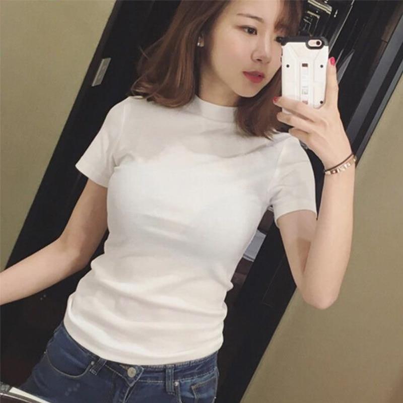 Short Sleeve Mock Neck Casual Tee Women Slim Fit T-shirt Tops Summer Female Sexy Top Tee White / Black T-shirt