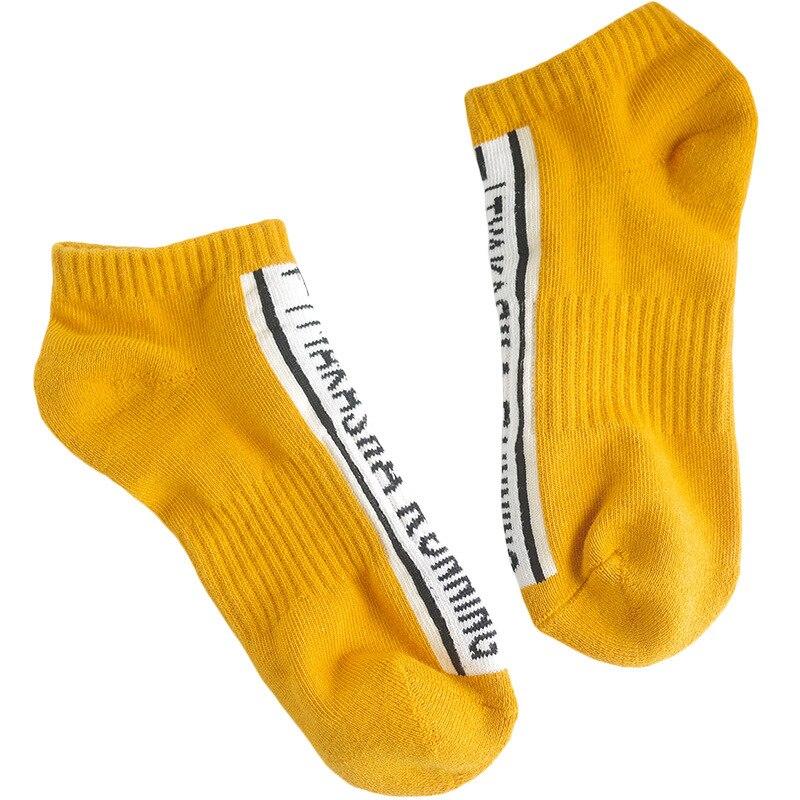 Лето-осень, женские хлопковые короткие носки с буквенным принтом, жаккардовые, длина по щиколотку, женские повседневные носки, Deodor, свежие, эластичные, дышащие - Цвет: Цвет: желтый