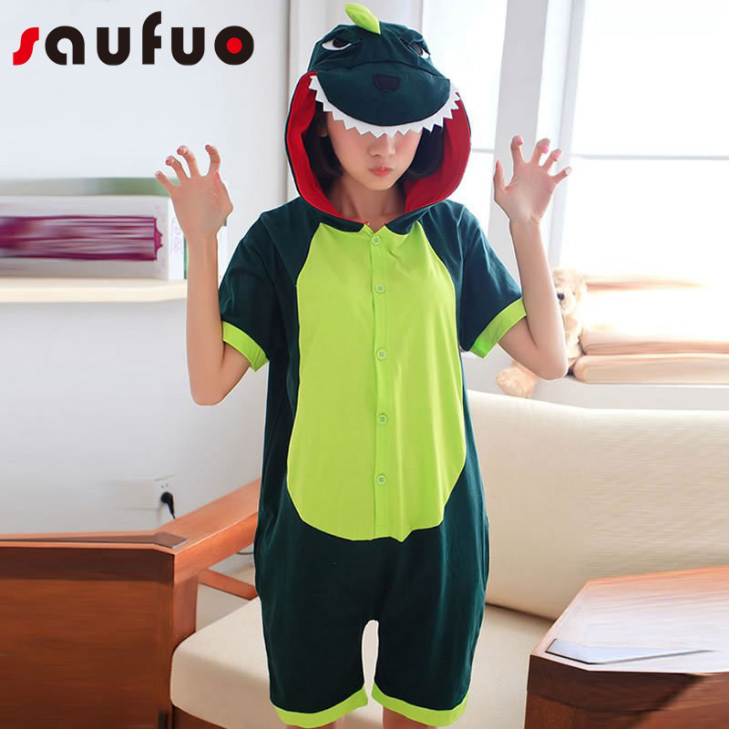 Summer Dinosaur Animal Cosplay Costume For Women Female Anime Kigurumi Cartoon Pyjama Homewear Short Sleeve Pijama Cute Onesie