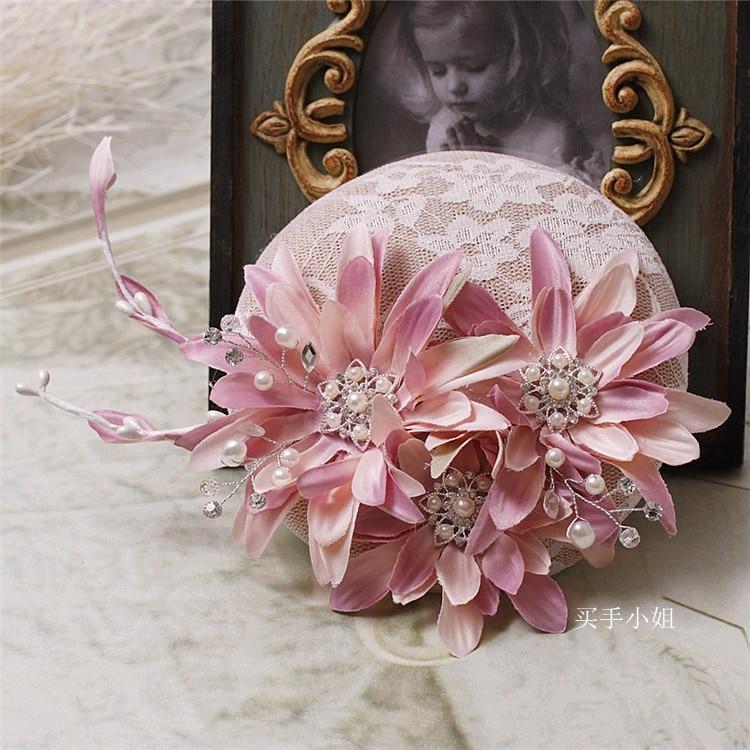 Bride Pink Rhinestone Linen Wedding Pearl Fascinator Hat For Ladies Floral Women Headwear 15Cm Royal Race Party Hair Accessories
