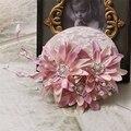 Chapéu Fascinator noiva Strass Rosa Do Casamento De Linho Para Senhoras Pérola Floral Mulheres Headwear 15 Cm Real Corrida Acessórios para o Cabelo Partido