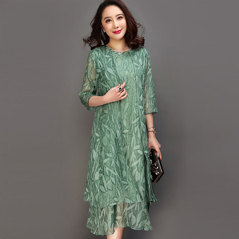 Large Size 6XL Spring Pink Green Print Dress O Neck Half Sleeve Casual Vestido Feminina Summer Vintage Silk A line Dress RE2178-in Dresses from Women's Clothing    1