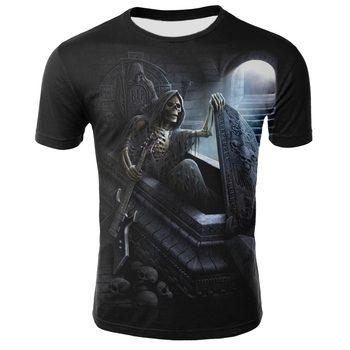 2019 casual short sleeve tops Gothic tee harajuku summer t shirts Street hip hop graphic 3D print skull fashion men tshirt men