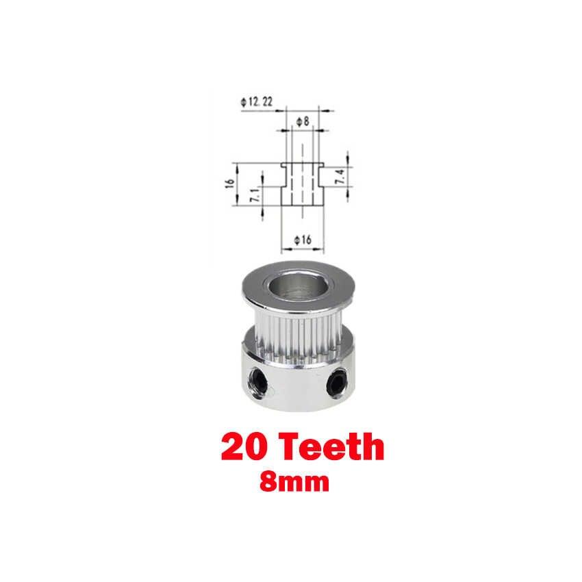 GT2 Kasnak 3D Yazıcı Parçaları Aksesuar GT2 20 Diş 16 Diş 16 20 Diş Çap 5mm/8mm zamanlama için kütük Alüminyum GT2 6mm Açık zamanlama kemeri