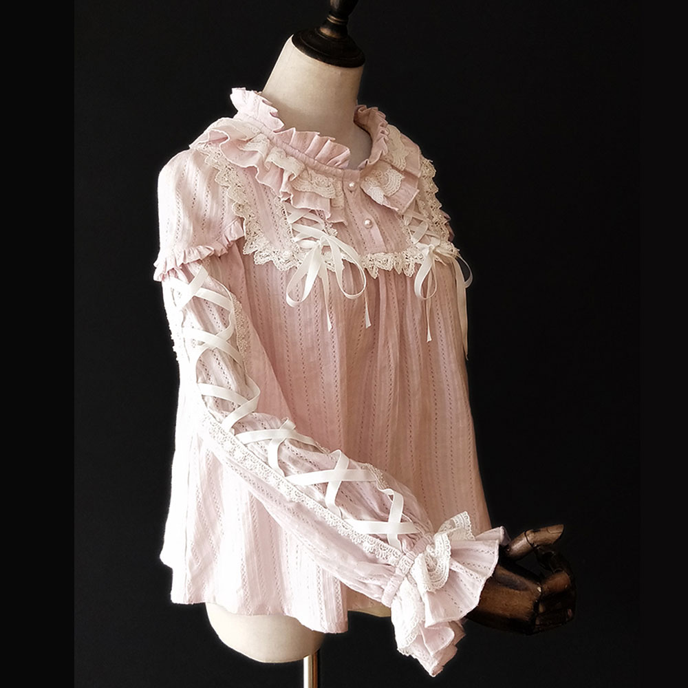 À Par Femmes Manches Purple Longues black Lait Thé Blouse De Infante White beige Rayé Doux Volants ~ pink pink Chaud Jacquard Y48YOz
