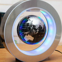Novelty Decoration Magnetic Levitation Floating Globe World Map with LED Light with Electro Magnet and Magnetic Field Sensor