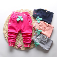 2017 CASUAL Autumn   Baby   Kids Children Girls Bow Flora Toddler Cotton LONG   Pants   Full Length Trousers Pantalones S5579