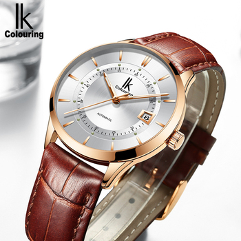 IK Colouring Business Series Automatic Watch for Men Leather Strap Mechanical Auto Date Water Resistant Male Relogios
