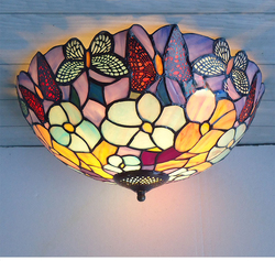 Morze śródziemne witraże tiffany europejski styl barokowy liliowy lampy sufitowe 30 40 50 cm LED żarówki lampy oświetlenie sypialni