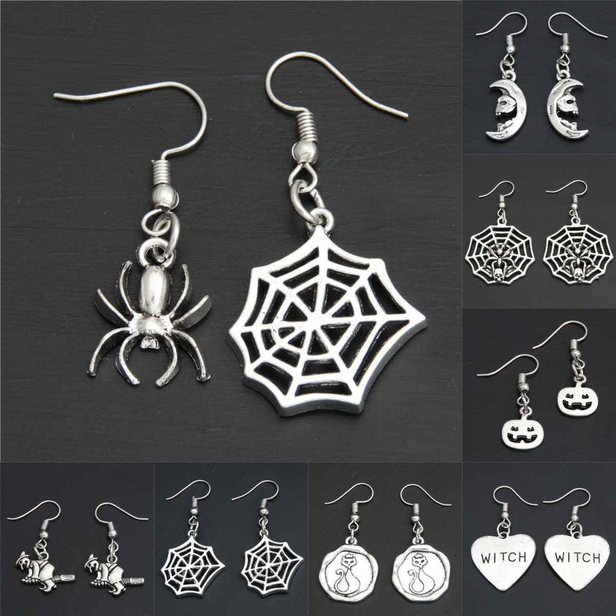 1pair Punk Style Korean Cute Halloween Specter Pumpkin Ghost Head Spider Earrings Witch Lover Gifts