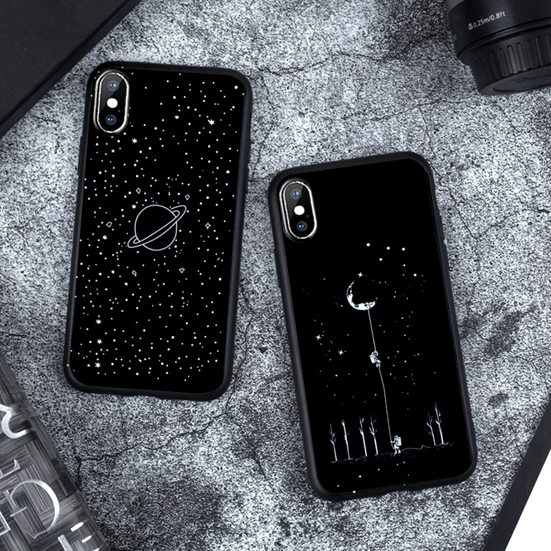 Image 2 - Matte Case For iPhone X XS Max XR 5 5S SE 6 6S Plus 7 8 Plus Soft TPU Silicon Black Abstract Cover Coque For iPhone XS Max Case-in Fitted Cases from Cellphones & Telecommunications