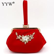 2019 Red Suede Evening Clutch Bag For Women Flower Shape Clutch Bag Rhinestone Metal Handbag Wedding Purse Female Handbag Bolsa xiyuan brand pineapple shape red yellow crystal women evening purse metal clutch bag wedding dinner minaudiere handbag wallet