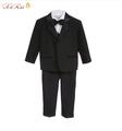 Alta Calidad bebé niño que arropan la chaqueta del smoking traje de boda 5 unids: coat + vest + shirt + tie + pantalones del muchacho vestido formal-$ number años