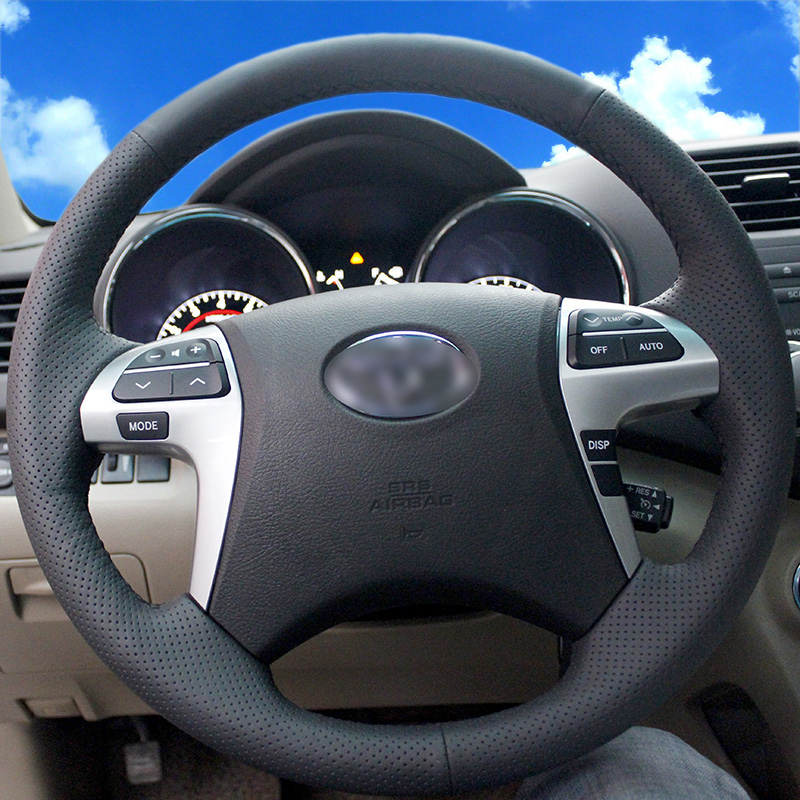 BANNIS Black Artificial Leather DIY Hand-stitched Steering Wheel Cover for Toyota Highlander Toyota Camry 2007-2011
