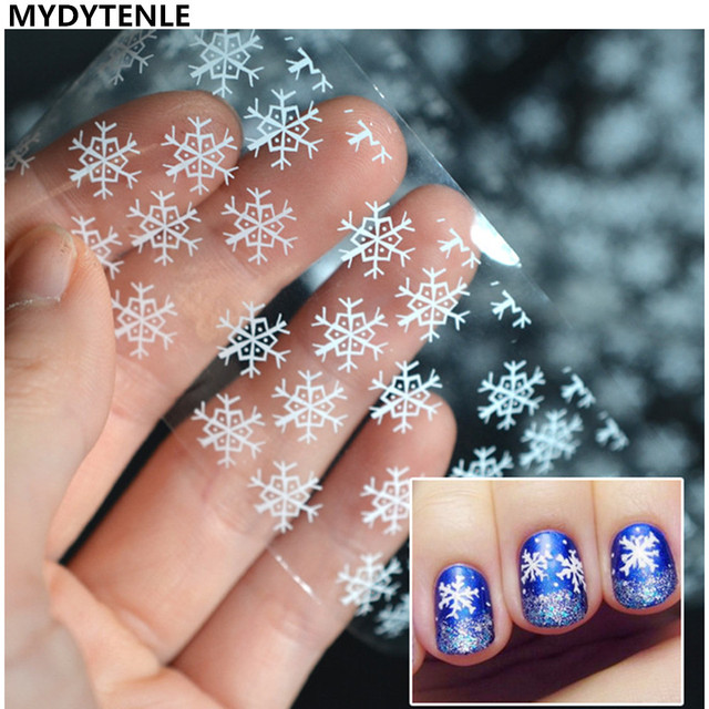 Mydytenle Christmas Snow Flower Designs Nail Art Stickers White Snow