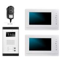 Danmini v70f/520/2 телефон видео домофон Дверные звонки 2 Пуговицы ИК Ночное видение Камера + 2 шт. мониторы + 1 шт. открытый Камера