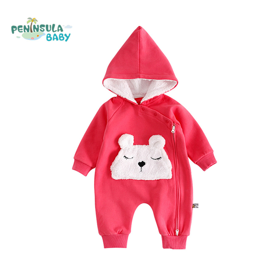 Winter Baby Rompers Cartoon Animal Hooded Jumpsuits Newborn Baby Boy Girls Clothing Thick Warm Costume Toddler Overalls Outfits 0 9months autumn winter baby girls boys rompers cartoon cute thick warm hooded jumpsuits newborn clothes infant clothing bc1225