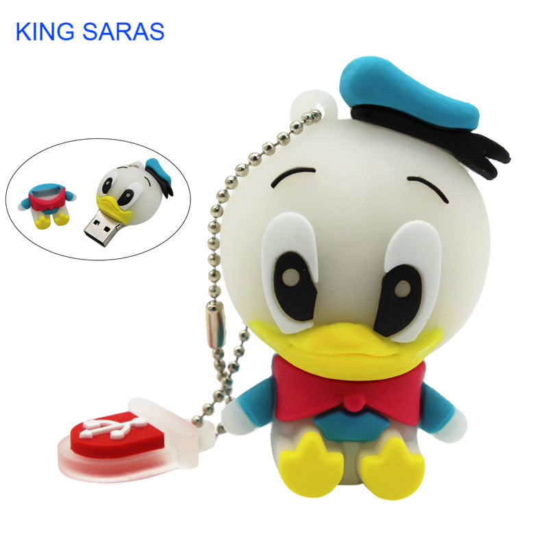 KING SARAS Cartoon Usb 2.0 Animal Mini Duck Style 4GB 8GB 16GB 32GB Pendrive USB Flash Drive Creative Usb Stick 64GB Pendrive