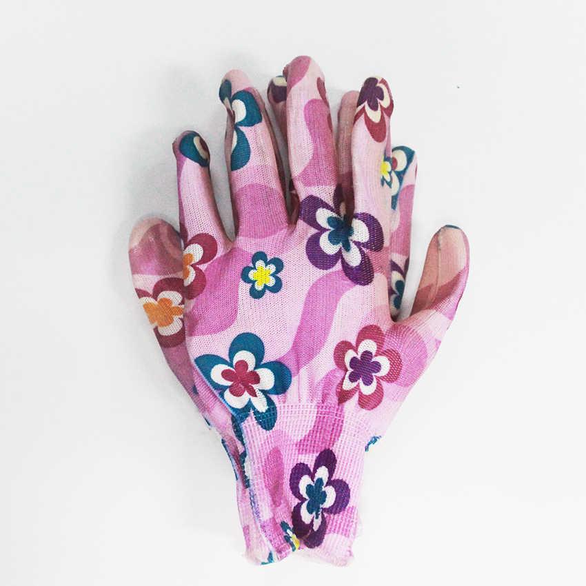قفازات الحديقة زهرة الجمال المطبوعة قفازات العمل النتريل النساء عدم الانزلاق المنزلية تنظيف قفازات تنفس 1Pair