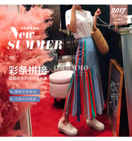 FREE SHIPPING Skirts stripe splicing chiffon package buttocks fashionable skirts IN STOCK