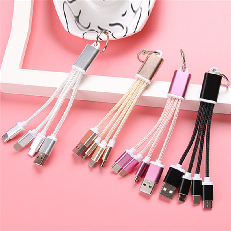 3 In 1 USB Charger Cable USB Cable Metal Keyring Micro USB Data Cord Charger Key Chain Cable For IPhone Fo Android