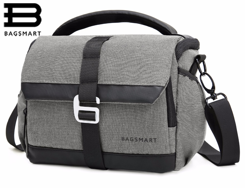 BAGSMART DSLR/SLR Camera Shoulder Bag Water-repellent Polyester With Rain Cover -Green,Grey,Black bagsmart dslr slr camera shoulder bag water repellent polyester with rain cover green grey black