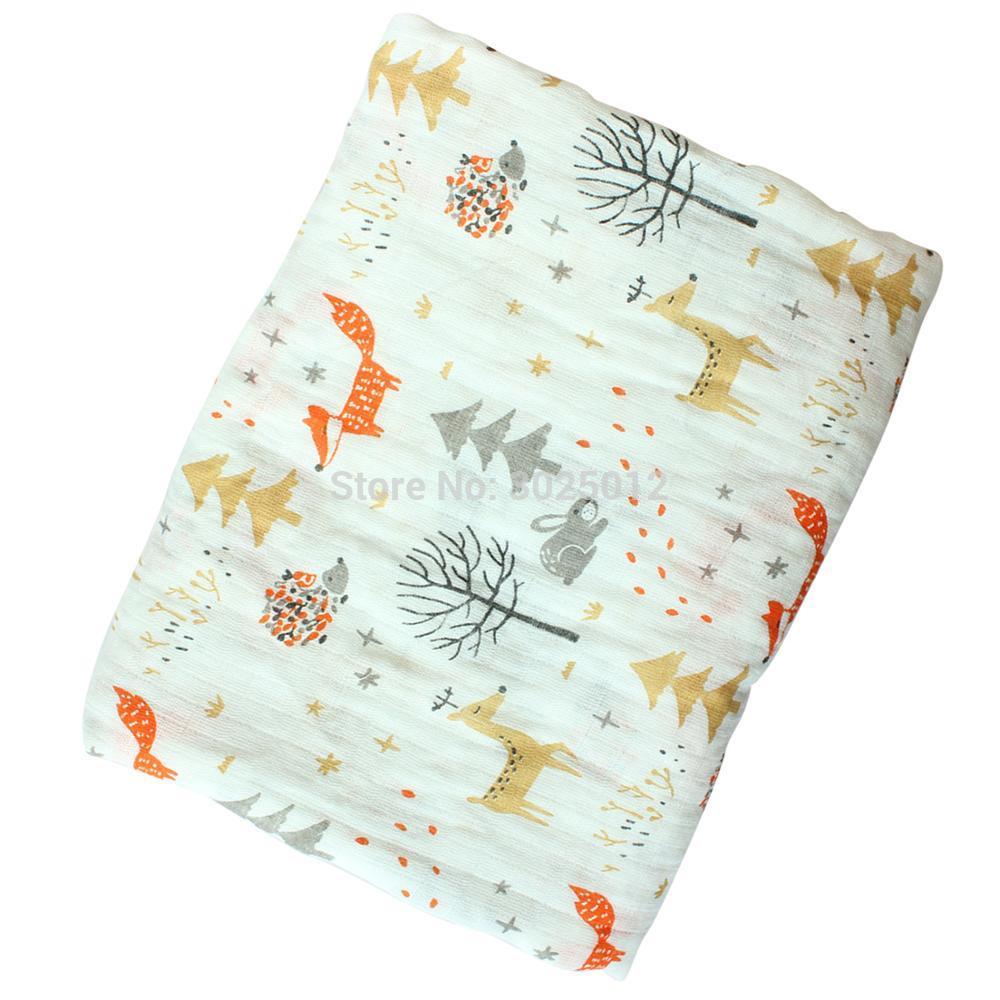 100% Muslin Cotton Blankets Cartoon Dinosaur Fox Multi-use Newborn Swaddle Muslin Baby Blanket Infant Gauze Both Towel Baby Wrap