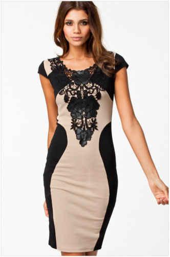 セクシーなファッション女性のレースの包帯ドレス半袖花フォーマルoネックパーティースキニーボディコンイブニングスリムミニドレス