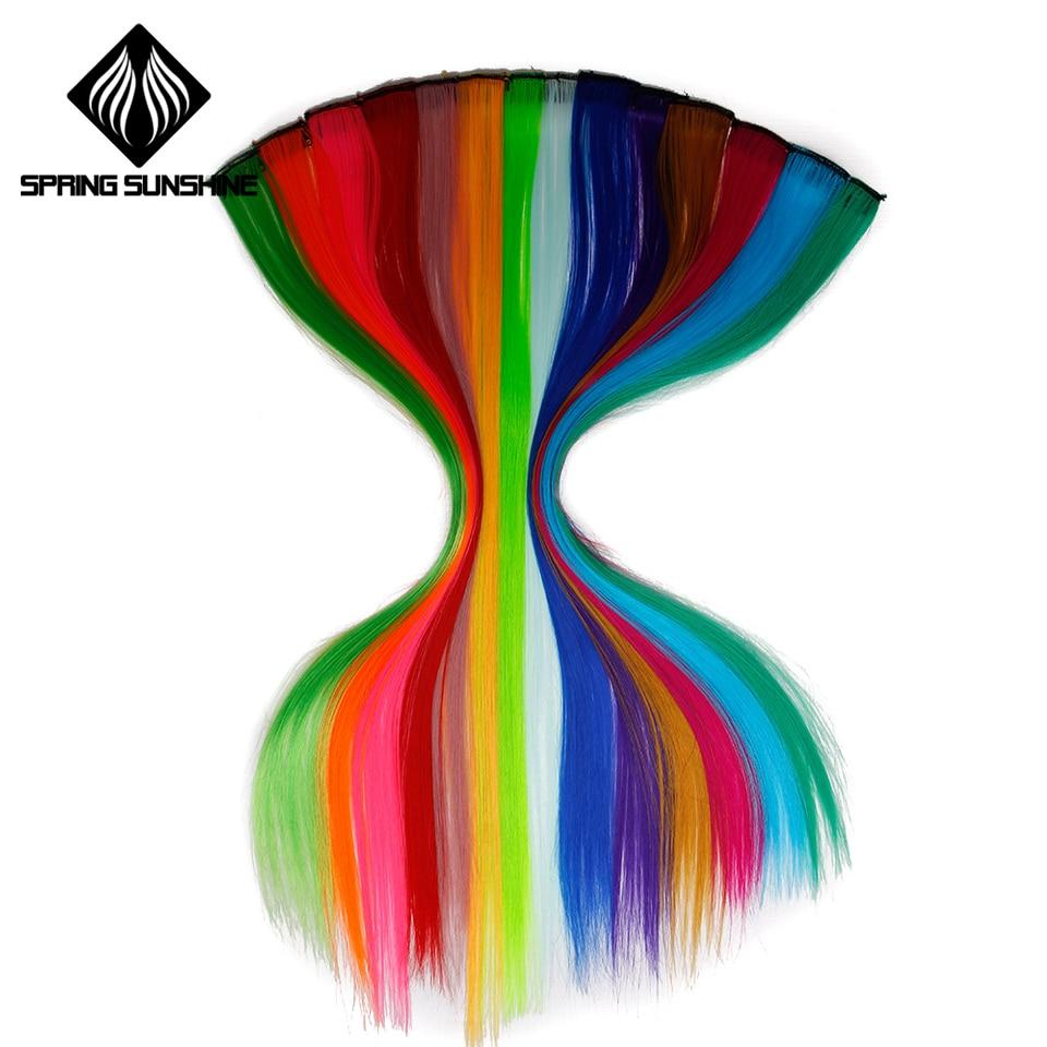 Цветной Выделите синтетические волосы клип в одна деталь цвет полоски 20 «Длинные прямые пряди для спортивных поклонников