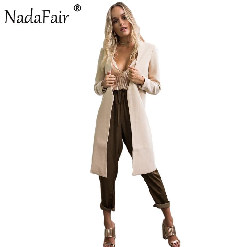 Nadafair Open Stitch Long Sleeve Casual Women Autumn Winter   Trench   Coat Long Fashion Slim Outwear