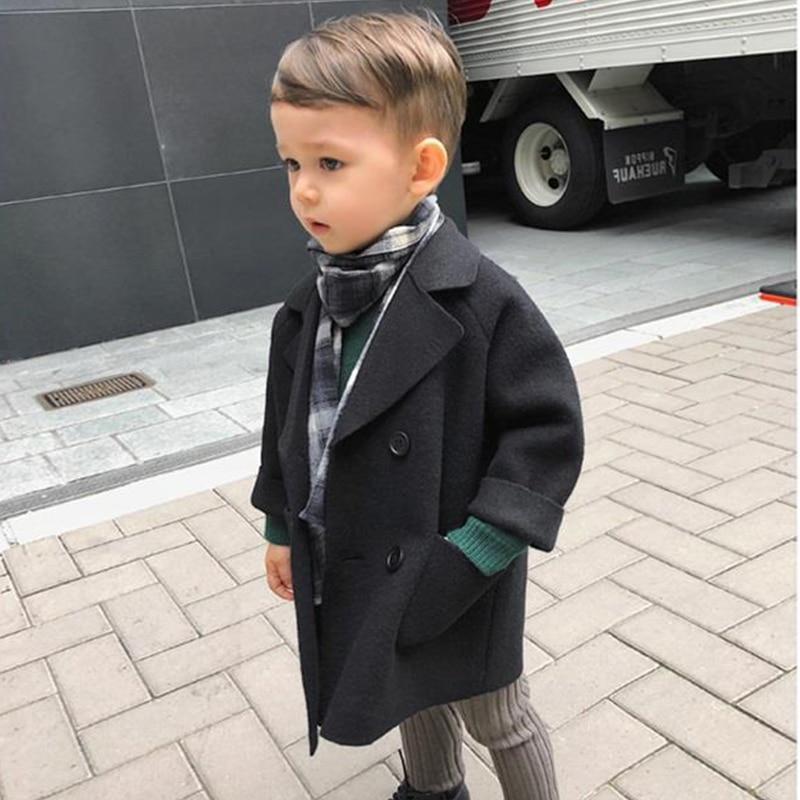 New 2018 Children Wool & Blends Coats Outerwear Spring Autumn Baby Boys Jackets Kids Winter Clothes outwear Windbreaker 3T-8T стоимость
