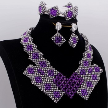 Big Set Jewellery Purple and Silver Crystal Bridal Jewelry Set Bracelet Earrings Necklace Set Indian Necklace Sets  For Women
