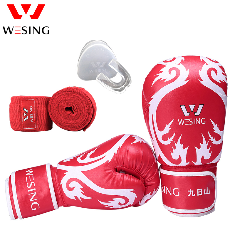 wesing boxing taining protect equipment set sanda muay thai dragon pattern gloves mouth  ...