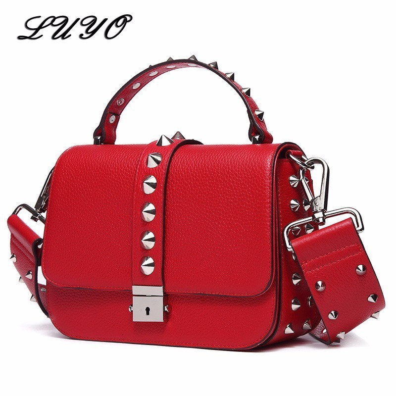 Genuine Leather Rivet Woman Famous Brands Messenger Bag Female Luxury Handbags Women Bags Designer Bolsos Mujer High Quality paste lady real leather handbags patent famous brands designer handbags high quality tote bag woman handbags fringe hot t489