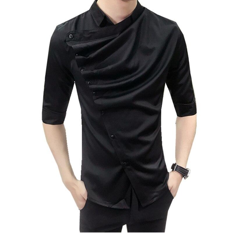 2018 Trendy Fashion Summer Brand Dress Shirt Men's Personalized Fold Half Sleeve Shirt Men's High Quality Casual Slim Shirt