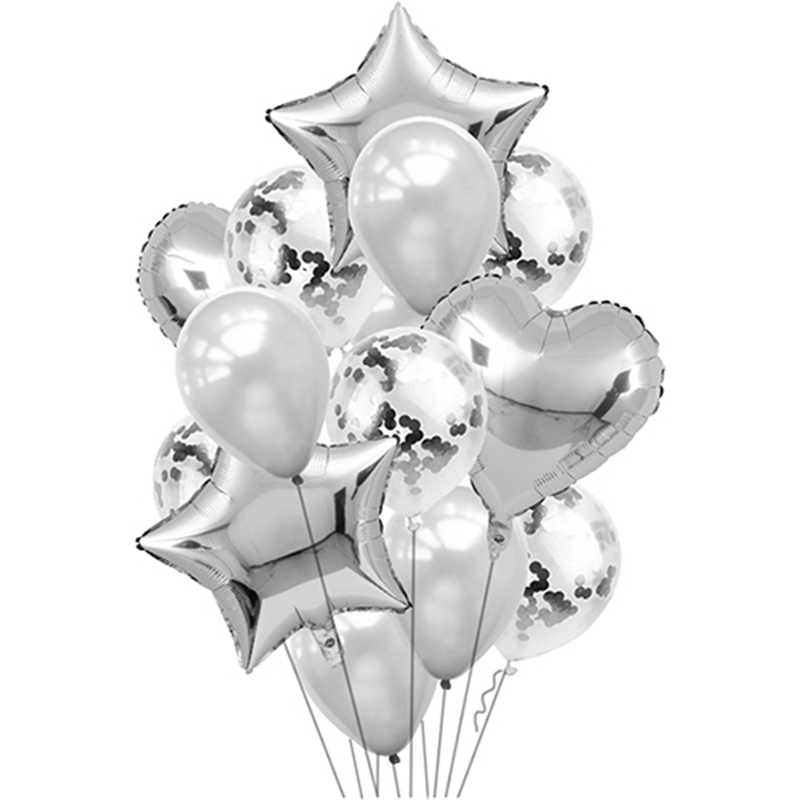 silver confetti balloon white latex balloon silver romantic theme wedding birthday party decoration baby shower party supplies